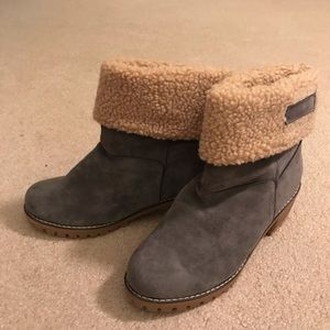 Roll down ankle booties